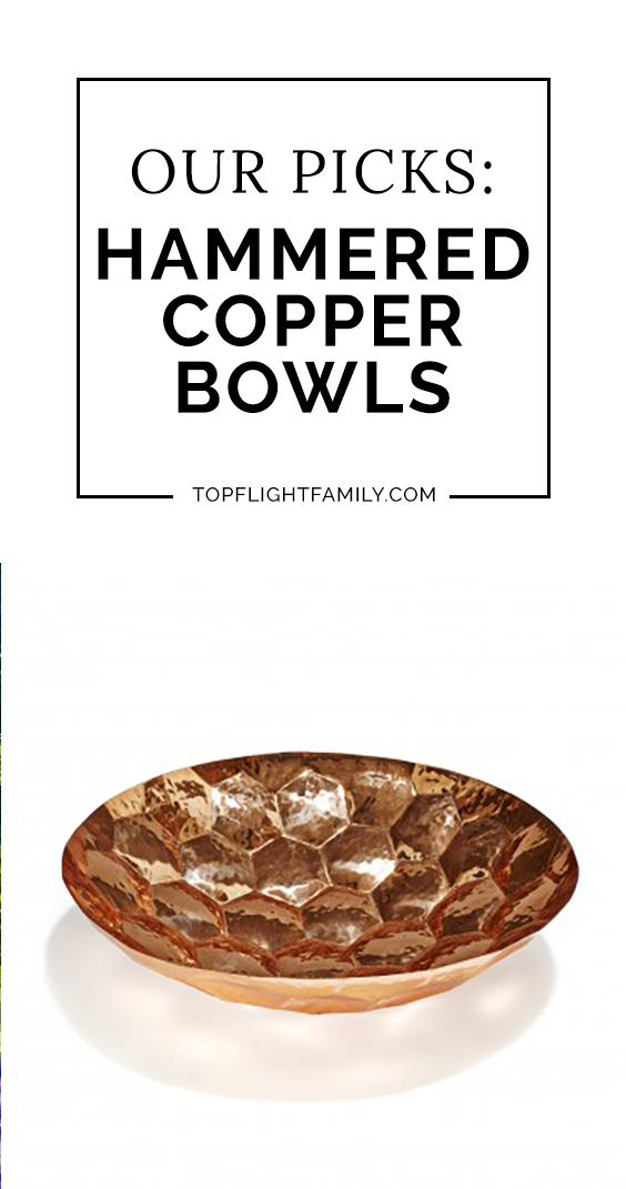 There's something about a collection of hammered copper bowls that can bring warmth and light into a home. Here are 6 of our picks, for serving or decor.