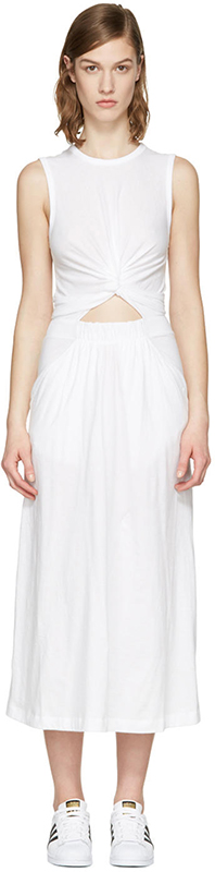 T By Alexander Wang White Front Twist Dress