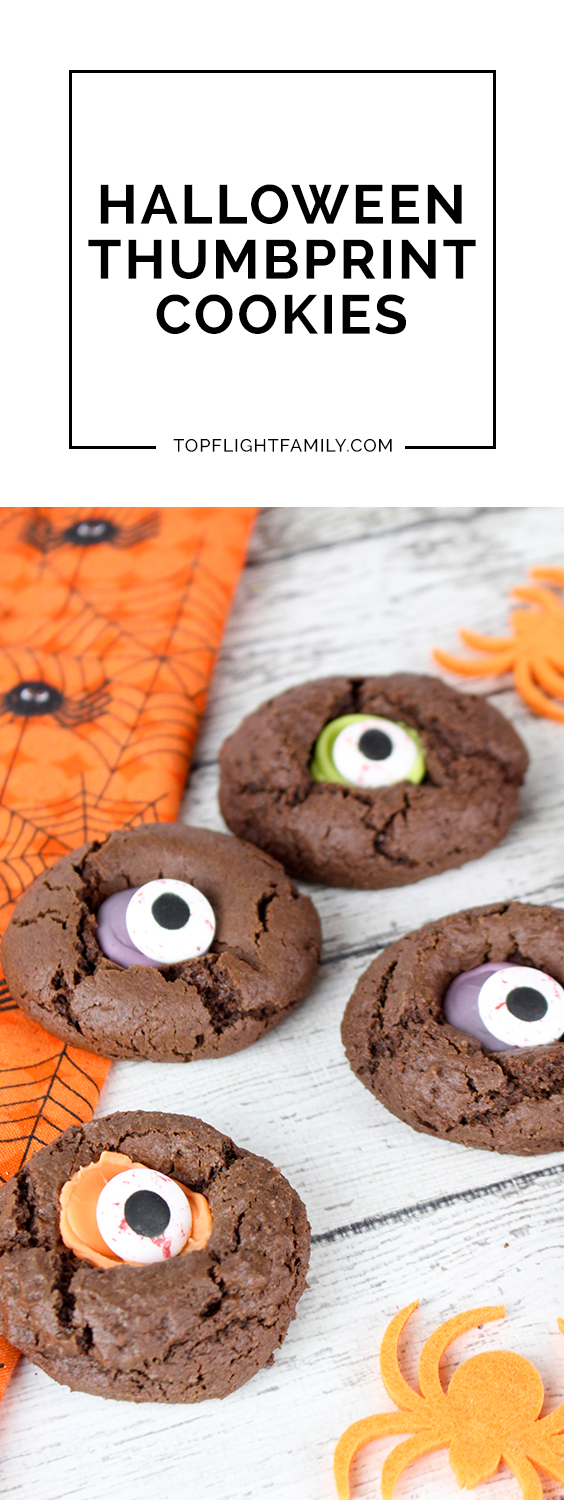 Does your family love Halloween? We love celebrating this holiday by baking themed treats. These Halloween Thumbprint Cookies are one of our faves.