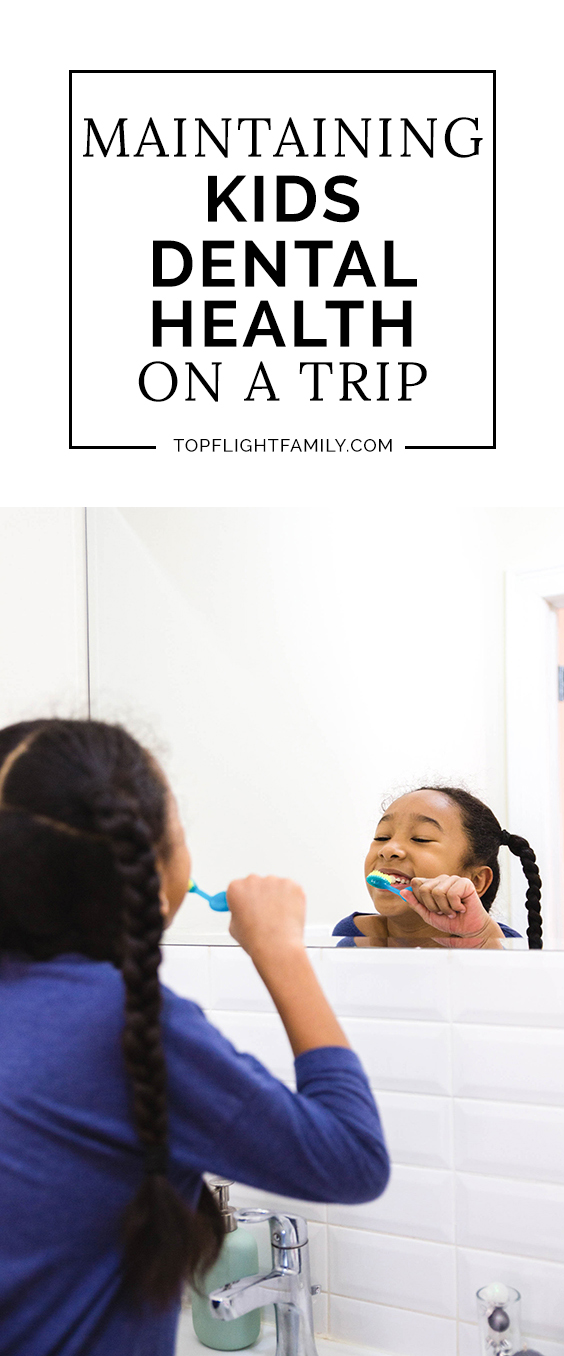 It's easy to slip on good dental habits when traveling, but it's important as parents not to shortchange the long-term dental health of our kids. I'm partnering with the American Dental Association to talk about how to keep up with dental health for kids while on vacation. #AD