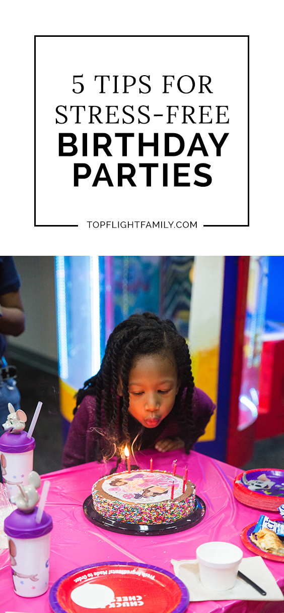 We recently threw a birthday party for Ella at Chuck E. Cheese's and it changed my perspective on parties! Here are 5 tips for stress-free kids' birthdays.